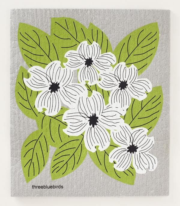 Dogwood on Gray Swedish Dishcloth