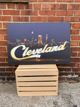 Load image into Gallery viewer, Cleveland Skyline Canvas Photo Print by Foundry Woodprints (IN STORE OR CURBSIDE PICK UP ONLY)