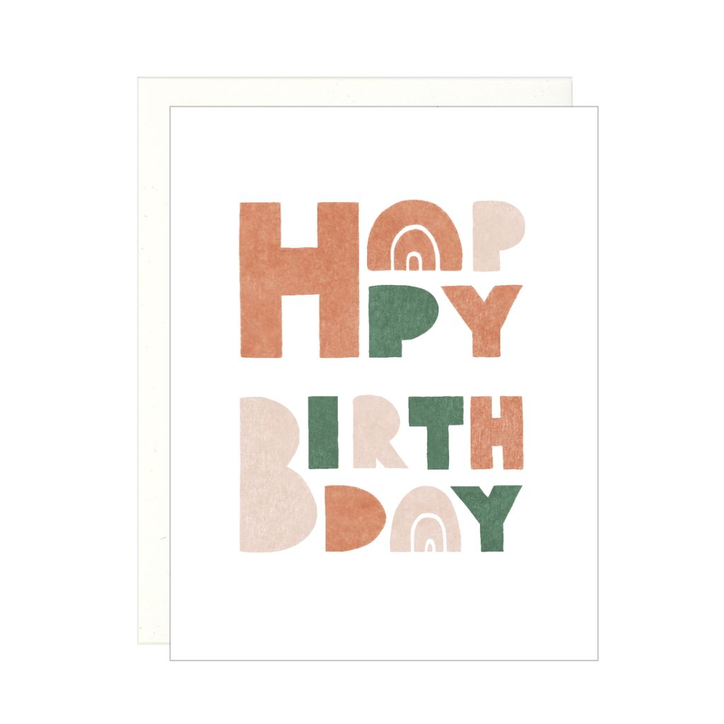 Happy Birthday - Block Letters Card by Lake Erie Design Co