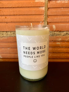 Furbish & Fire The World Needs More People Like You Soy Wine Bottle Candle in Santorini
