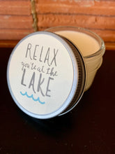 Load image into Gallery viewer, Furbish and Fire Relax, You're at the Lake Mini Jar Soy Candle in Wood Sage & Sea Salt