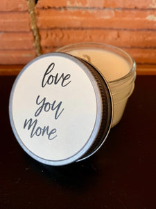 Furbish and Fire Love You More Mini Jar Soy Candle in Crimson Sunset