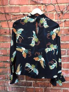 Black Silky Shirt with Cranes