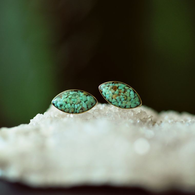 Crushed Green Turquoise Marquise Post Earrings by Cameoko