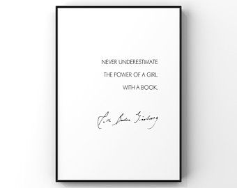 Never Underestimate the Power of a Girl with a Book Unframed 5x7 Print by Evergreen Decor Co