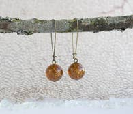 Brown Glitter Dangle Earrings by A Tea Leaf