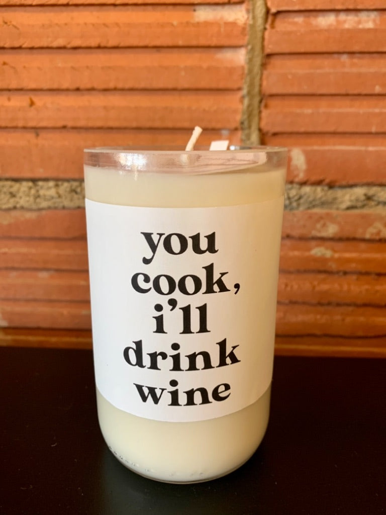 Furbish & Fire You Cook, I'll Drink Wine Soy Wine Bottle Candle in Crimson Sunset