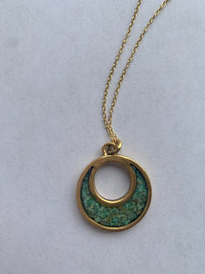 "The Sal~ Petite Open Crescent Necklace on 18"" Chain in Green by Cameoko"