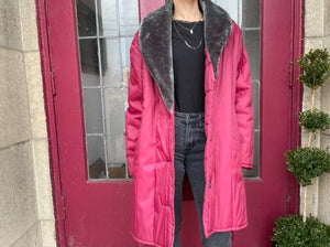 Oversized Puffer Coat with Fur Trim