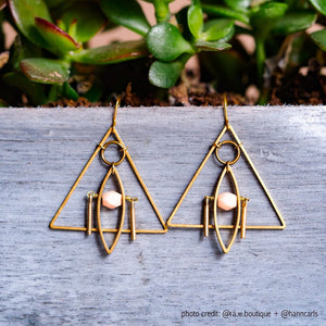 Limited Edition Peachy Pink Geometric Triangle Earrings by A Tea Leaf