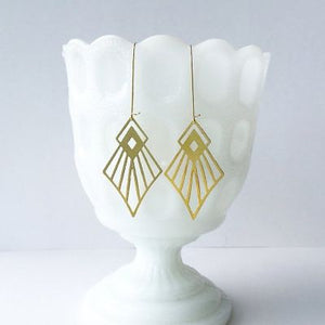 Art Deco Diamond Earrings by A Tea Leaf