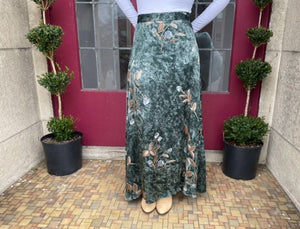 Long Green Satin Floral Skirt