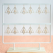 Load image into Gallery viewer, Limited Edition Peachy Pink Geometric Triangle Earrings by A Tea Leaf