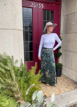 Load image into Gallery viewer, Long Green Satin Floral Skirt