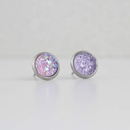 Soft Lavender Purple Druzy Crystal Earrings