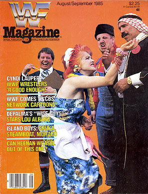 WWF Magazine August/September 1985 Vince McMahon, Cindy Lauper, Iron Sheik
