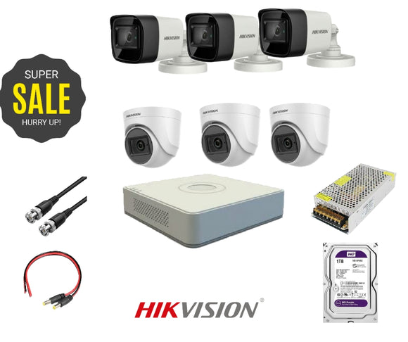 HIKVISION - 6 HD 2 Mega Pixel Cameras + DVR 8 Channel + HDD 1 Tera + Power Supply 10 Amp