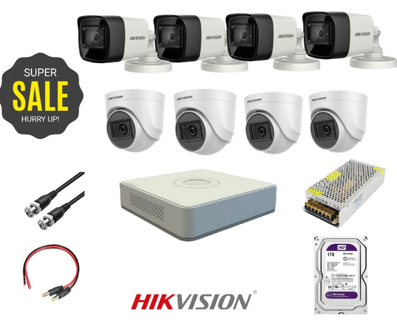 HIKVISION - 8 HD 2 Mega Pixel Cameras + DVR 8 Channel + HDD 1 Tera + Power Supply 10 Amp