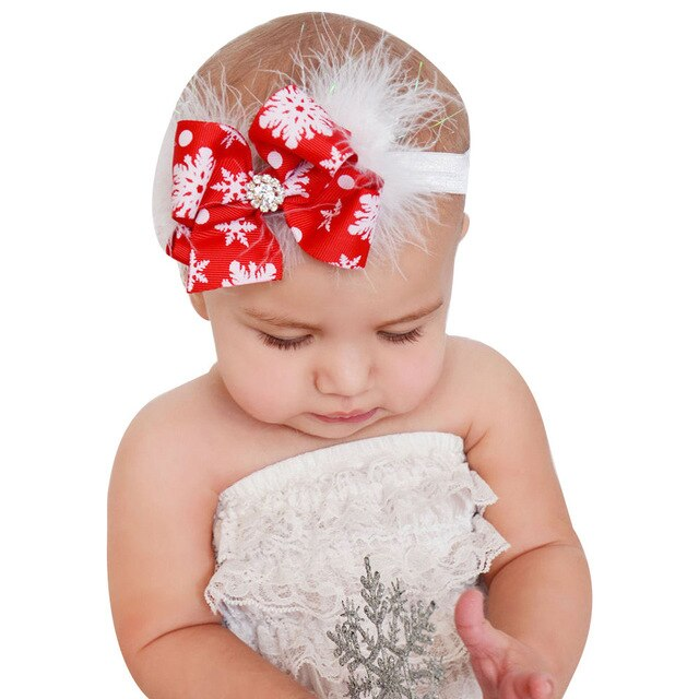 Newborn Toddler Baby Kids Headband Christmas Baby Girls Toddler Bow Feather Headband Snow Flower Girl Hair Headwear Accesories