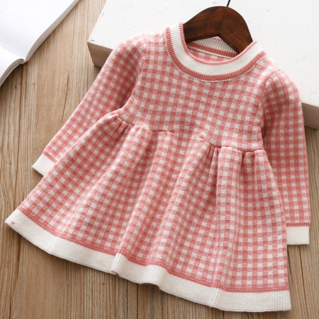New Baby Girls Winter Plaid Sweater Dresses Clothes Toddler Infant Christmas Knitted Dress Children Kids Autumn Spring Clothing