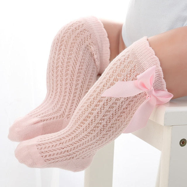 BalleenShiny Baby Girl Socks Toddler Baby Bow Cotton Mesh Breathable Socks Newborn Infant Non-slip Baby Girls Socks 0-3 years