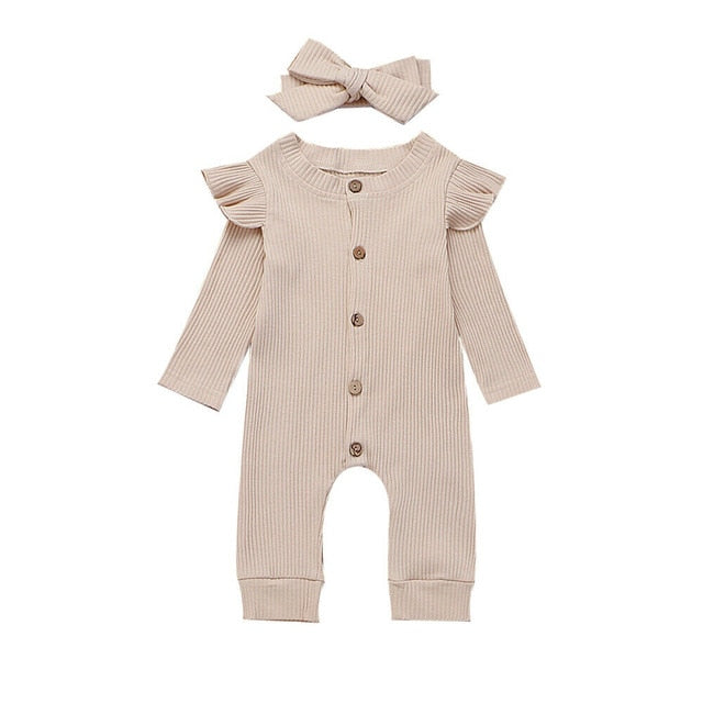 Baby Spring Autumn Clothing Newborn Baby Girl Boy Ribbed Clothes Knitted Cotton Romper Jumpsuit Solid 2PCS Outfits