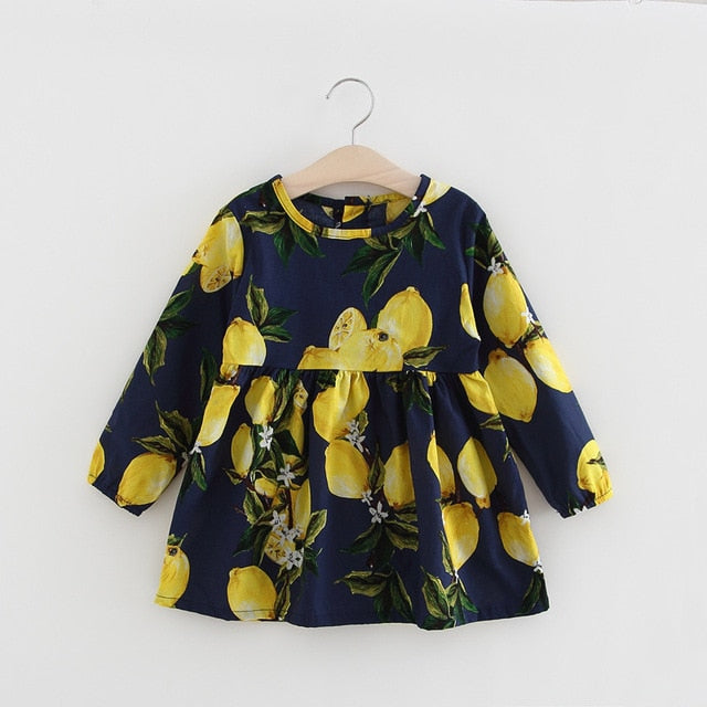 New Kids Long Sleeve Dresses Girls Flower Printed Princess Dress Summer Children Clothing 2 3 4 5 6 7 Years Girl Elegant Outfits