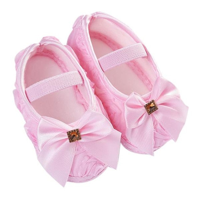 LONSANT Toddler Kid Baby Girl Rose Bowknot Elastic Band Newborn Walking Shoes E1120