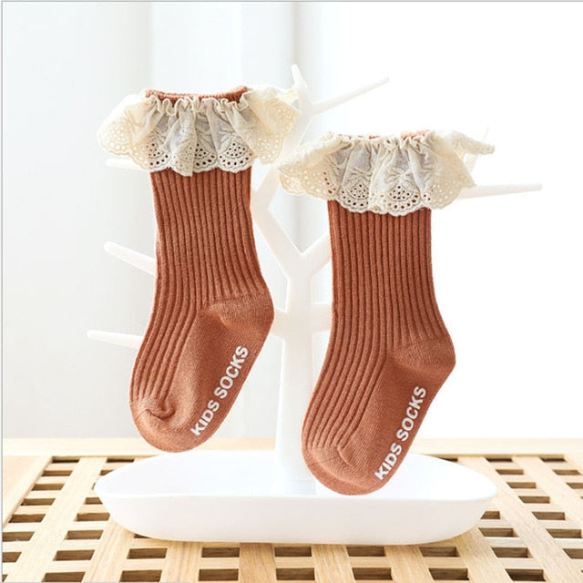 Baby socks New Kids Toddlers Girls  Knee High Long Soft Cotton Lace Baby Children Socks Baby Girl socks 0 to 3 years