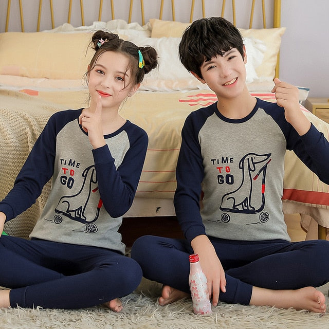 Teenage Girls Pajamas New Autumn Long sleeve Children's Clothing Boys Sleepwear Cotton Pyjamas Sets For Kids 9 10 12 14 16 Years