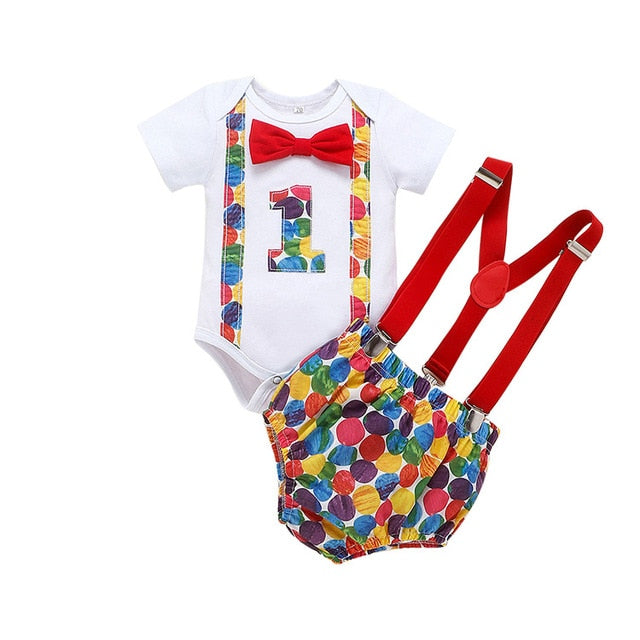 1st birthday, Tie Romper Straps Shorts for baby toddler Clothing Set