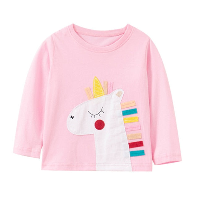 Jumping meters New Girls Cotton Tees Tops Unicorns Printed Long Sleeve T shirts Children Animals Clothing Autumn Spring T shirts