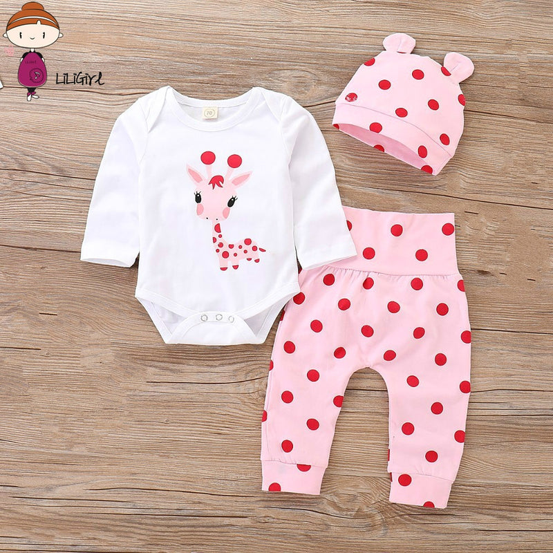Baby Girl Clothes Polka Dot Newborn Baby Girl Outfits Set Cute Giraffe Infant Girl Clothing With Hat Spring Autumn
