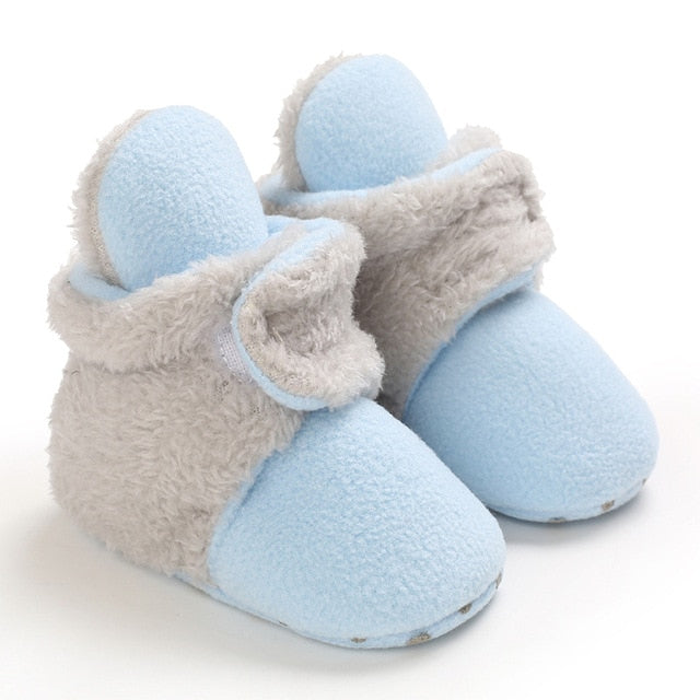 Newborn Baby Shoes Boy Girl Solid Toddler First Walkers Booties Cotton Comfort Soft Anti-slip Warm Infant Crib Shoes