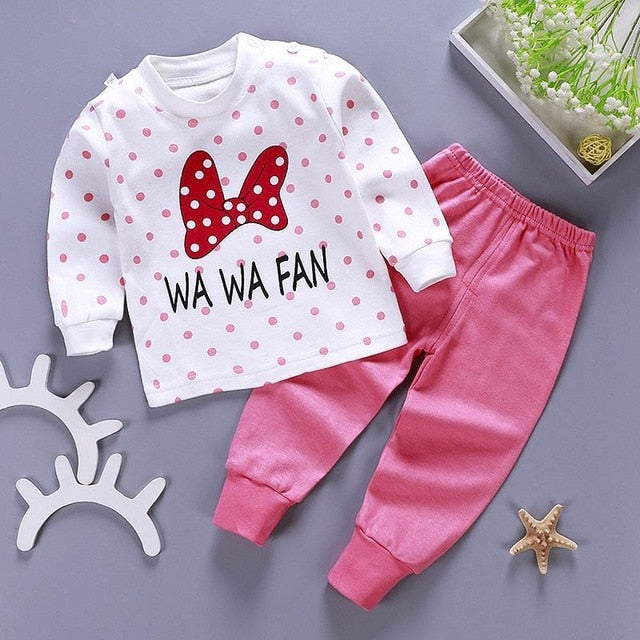 Kids Pajamas Sets Baby Boys Girls Cotton Long Sleeved Tshirt+Pant Cartoon Girl Clothing Autumn Sleepwear Suit Pyjama Trousers