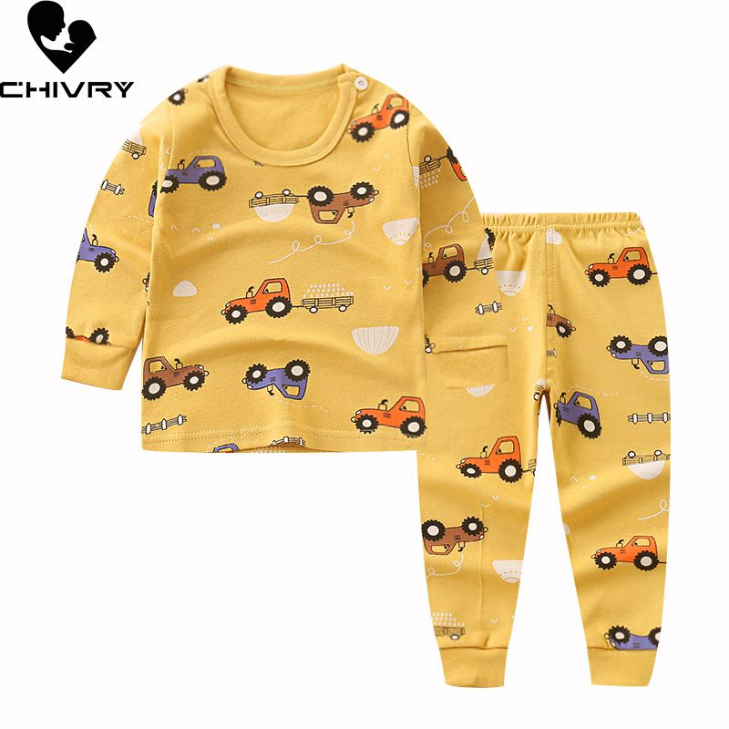 Newborn Kids Boys Girls Pajama Sets Cartoon Casual Long Sleeve Cute T-Shirt Tops with Pants Toddler Baby Autumn Sleeping Clothes