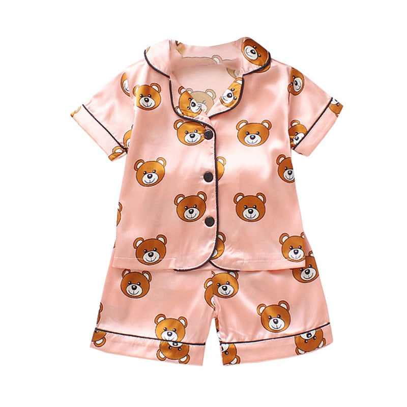 Kids Pajamas Set Silk Women Men Pajamas Boys Girls Bear Print Pyjamas Short Sleeve Blouse Tops+Shorts underwear & sleepwears