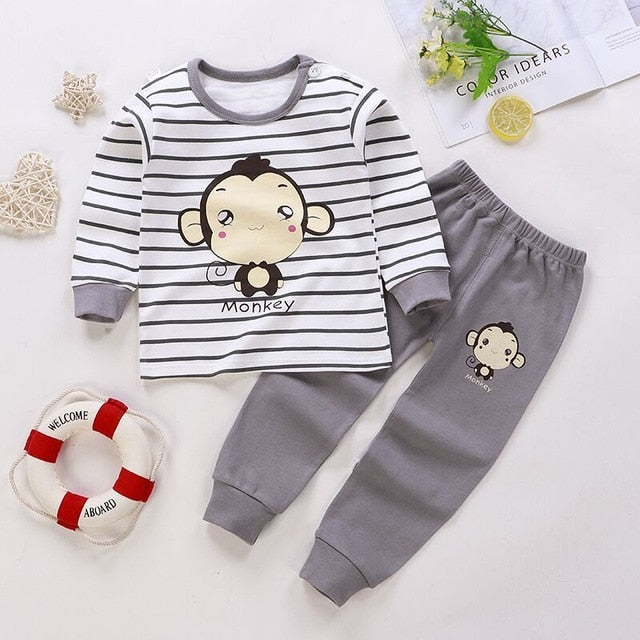 Newest Unisex 6M-5Y Children's Suits Boys Girls 100% COTTON Long Sleeve Kids Pajamas Sets 2Pcs Tops and Pants Sleepwear Clothes
