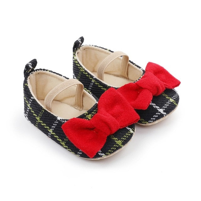 Spring Princess Baby Girls Shoes Newborn Toddler Butterfly-knot Causal Shoes Plaid Footwear Soft Sole Prewalker 0-18M