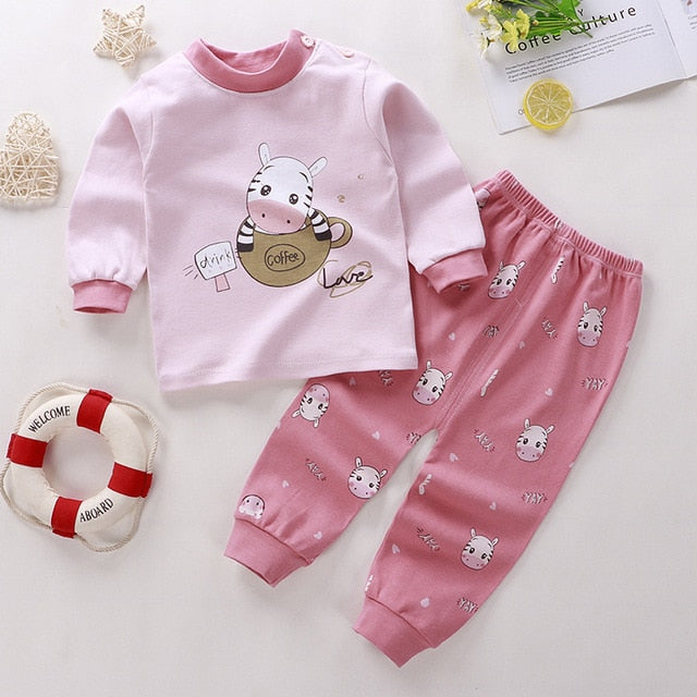 Unisex 6M-5 Years old 2Pcs/set pajamas children's underwear set O-neck  cotton Boy kids clothes Cartoon Long Sleeve GIRLS Suit