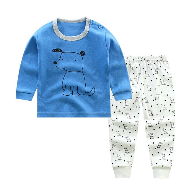 New Unisex 12M-5T Long Sleeve Children's Pajamas 100% Cotton  kids clothes Tops+pants Nightwear Clothing toddler Boy Girl Sets