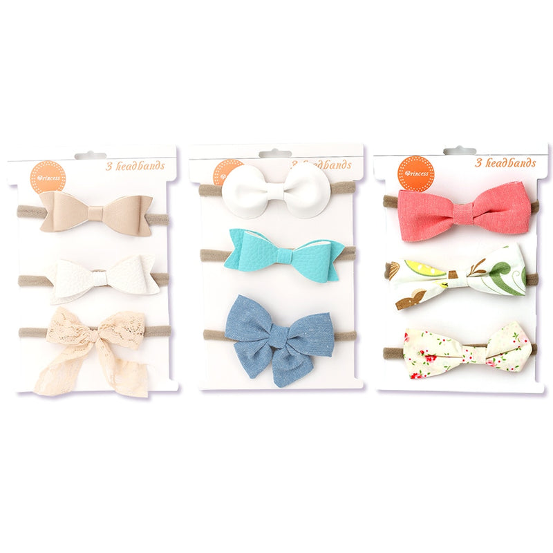 3Pcs/Set Newborn Bow Lace Floral Printed Hair Band Baby Girl Handmade Nylon Elastic Headbands Toddler Accessories Bebes Accesories