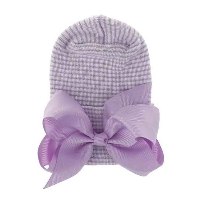 Newborn Baby Hat Toddler Striped Caps Bow Beanies Soft Hospital Girls Hats Baby Warm Hat for Baby 0-3M Accesories Wholesale