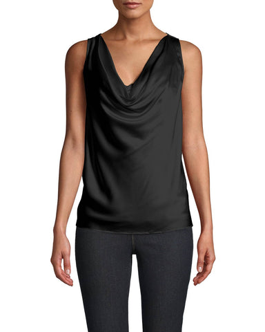 Charmeuse Cowl Neck Blouse In Black