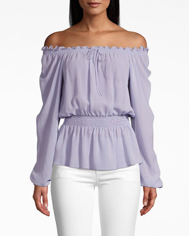 Solid Silk Long Sleeve Smocked Blouse In Lilac