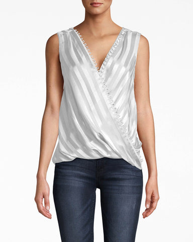 Satin Stripe Upside Down Button Loop Blouse In White