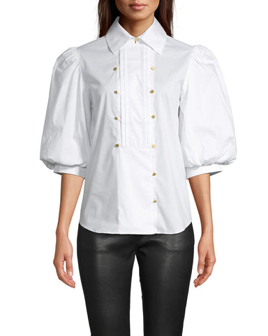Cotton Poplin Tuxedo Puff Sleeve Blouse In White