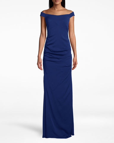 New Stretch Crepe Off The Shoulder Gown In Navy