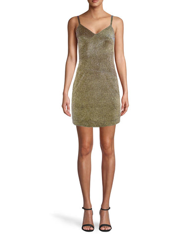 GOLD SPARKLE SPAGHETTI STRAP MINI DRESS in IRIDESCENT GOLD