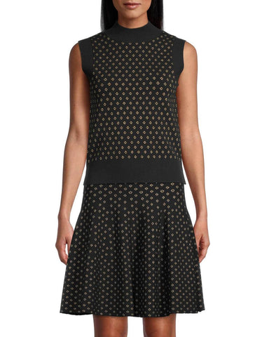 DIAMOND JACQUARD SLEEVELESS TOP in BLACK